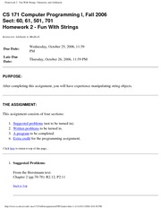 Homework 2 - Fun With Strings, Characters, and Arithmetic