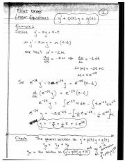 First Order Linear Equations (Lecture Notes)