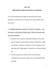 Midterm Exam Questions & Answers