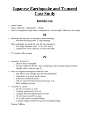 Japan Earthquake and Tsunami Case Study Homework