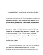 POL 310 Week 4 DQ 1 Land Management Policies and Habitat.doc