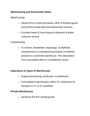 Warehousing and Distribution Notes