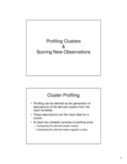 Cluster Analysis - Profiling and Scoring