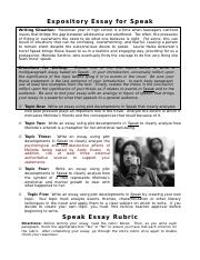 Speak Essay Directions and Rubric (1)