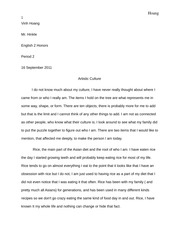 Artistic Culture Opinion essay