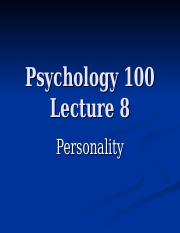 Psychology 100 Lecture 8.ppt