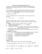 Review Sheet Brief Calculus Test One_F11