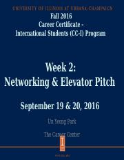 CC_I Networking and ElevatorPitch