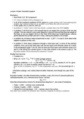 Lecture 4 Notes Reynolds Equation