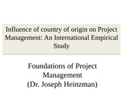 Influence of country of origin on Project Management