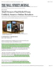 Mall Owners Find Relief From Unlikely Source  Online Retailers - WSJ.pdf