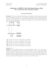 Test 2A Solution Spring 2011 on General Physics 2 on Electricity and Magnetism