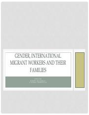 GESC2320 WK12 Gender, international migrant workers and their families