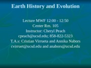Lecture 9 Oct 14th Plate Tectonics II
