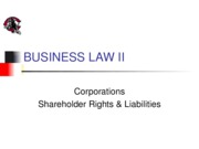 Corporations - Shareholder Rights and Liabilities