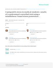 2016_Kuhlmann_Coping with stress in medical students _results of a randomized controlled trial using