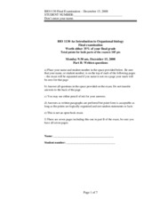Organismal Biology - Final 2008 Written Answers