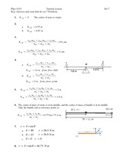 Tutorial 7 Answers - Mass Equations