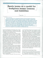 Session 06 -  Katz, N. (2001). Sports teams as a model for workplace teams lessons and liabilities.