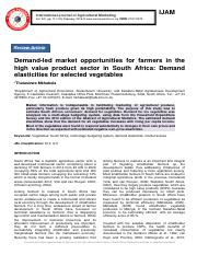 Demand-led market opportunities for farmers in the high value product sector in South Africa- Demand