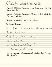 CPSC 141 Nov 13th Lecture Notes