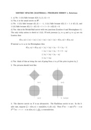 Metric Spaces Problem Sheets Solutions