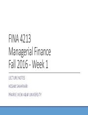 FINA 4213 Managerial Finance_F16_Wk01