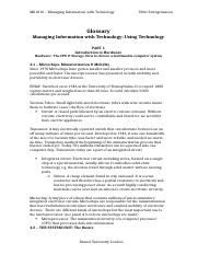 Notes MG1016 - Managing Information with Techonogy - Using Technology (2nd edition)