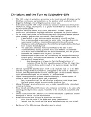 Christians and the Turn to Subjective-Life Notes