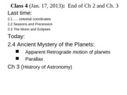 class 4, Jan.17-2013 (ch. 2c and 3)
