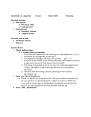 Introduction to Linguistics Study Guide for Exam 2