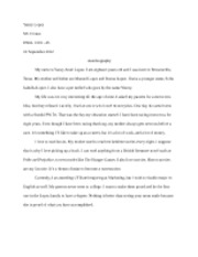 restaurant evaluation essay yancy lopez d crouse english  1 pages autobiography