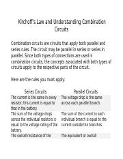 Kirchoff's Law and Understanding Combination Circuits