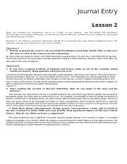 LESSON 2 Journal US HISTORY