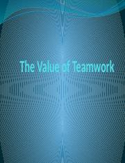 The Value of Teamwork