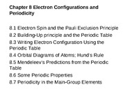 Chapter 8 Electron Configurations and Periodicity (Lecture 13 - 16)done