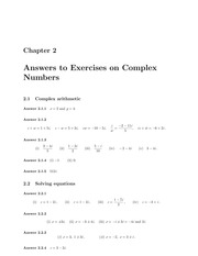 Answers to 1R Algebra Exercises on Complex Numbers (Solutions)