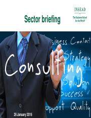 Consulting Sector Briefing - 26 January 2016