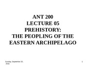 ANT 200 LECTURE 04 Prehistory
