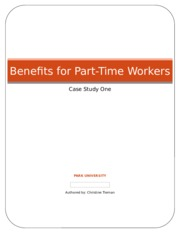 Benefits for Part-Time Workers - Case Study One - Christine Tiernan