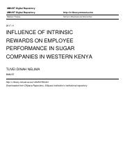 INFLUENCE OF INTRINSIC REWARDS ON EMPLOYEE PERFORMANCE IN SUGAR COMPANIES IN WESTERN KENYA.pdf