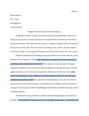 Rhetorical U200banalysis Final Draft Brunner 1 Maria Brunner Ms Conner Ap English Iii 24 October 2017 Margaret Thatcher Eulogy Rhetorical Analysis In Course Hero