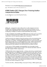 KPMG Violates Independence Requirements