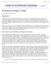 Week 1 - Cosmides & Tooby 2006 EvPsychPrimer