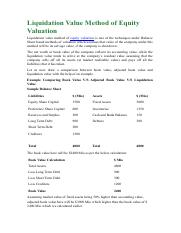 Liquidation VS Replacement Value Method of Equity Valuation