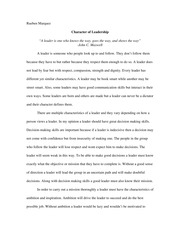 Character of Leadership Essay
