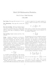 Math 218 T Distribution Notes