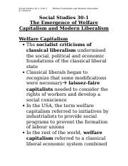 Social Justice and Peace Studies 1025F Class Notes The Emergence of Welfare Capitalism and Modern Li
