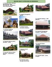 Rumah Adat 34 Provinsi Docx Rumah Adat 34 Provinsi Di Indonesia 1 Rumoh Aceh Rumah Krong Pade Atau Berandang Nanggroe Aceh Darussalam 6 Rumah Panggung Course Hero