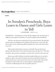 In Sweden's Preschools, Boys Learn to Dance and Girls Learn to Yell - The New York Times.pdf